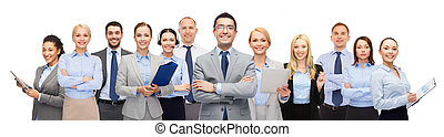 grupo, de, feliz, businesspeople