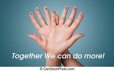 grupo, de, feliz, dedo, smileys