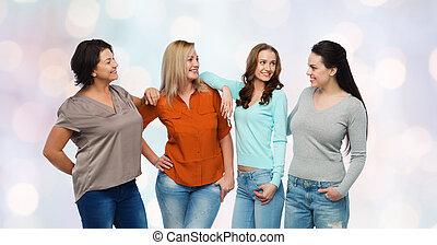 grupo, de, feliz, diferente, mujeres, en, ropas ocasionales