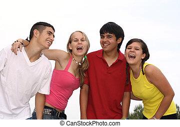 grupo, de, feliz, diverso, adolescentes