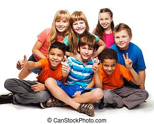 grupo, de, feliz, diverso, mirar, niños, y, girs