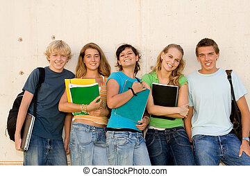 grupo, de, feliz, estudantes, ligado, campus