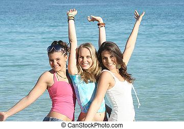 grupo, de, feliz, estudantes, ligado, pausa verão, ou, praia, férias verão