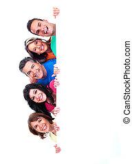 grupo, de, feliz, gente, con, banner.