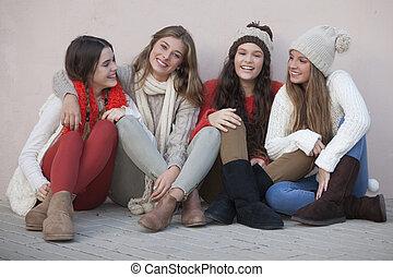 grupo, de, feliz, meninas escola
