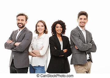grupo, de, feliz, multiracial, empresarios