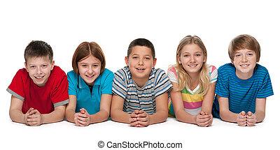 grupo, de, feliz, niños