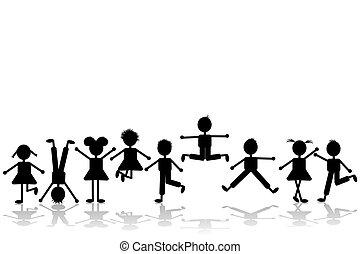 grupo, de, feliz, niños jugar, conjunto, 2