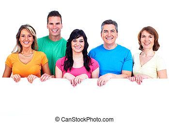 grupo, de, feliz, pessoas, com, banner.