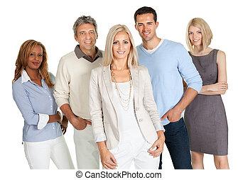 grupo, de, feliz, pessoas negócio, isolado, branco