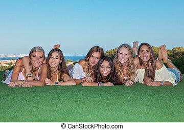 grupo, de, feliz, saudável, meninas adolescentes