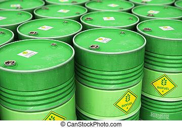grupo, de, filas, de, verde, apilado, biofuel, tambores, en, almacenamiento, almacén