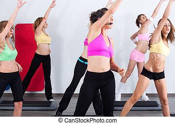 grupo, de, gimnasio, las personas presente, un, aeróbicos, clase