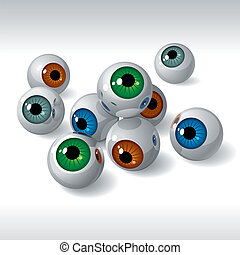 grupo, de, globos oculares, blanco, plano de fondo