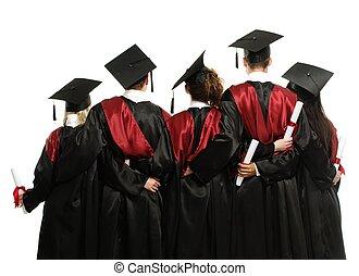grupo, de, graduado, jovem, estudantes, em, pretas, mantos