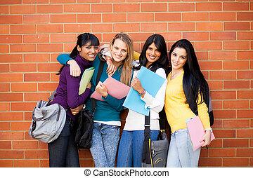 grupo, de, hembra, colegio, amigos