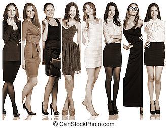 grupo, de, hermoso, mujeres jóvenes