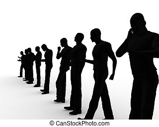 grupo, de, hombres de la corporación mercantil