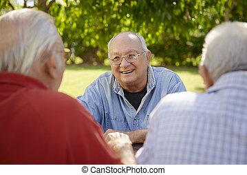 grupo, de, homens sênior, tendo divertimento, e, rir, parque