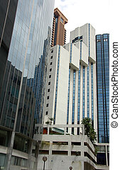 grupo, de, hotel, y, torre de la oficina