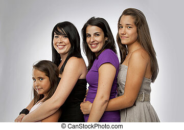 grupo, de, idades misturadas, meninas