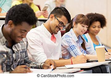 grupo, de, internacional, estudiantes, con, en, conferencia