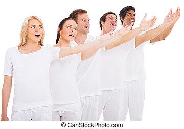 grupo, de, jovem, cantores