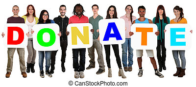 grupo, de, jovem, multi étnico, pessoas, segurando, palavra,...