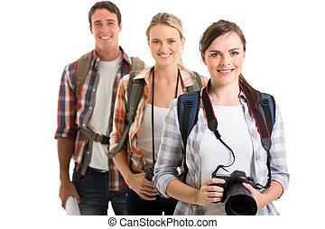 grupo, de, jovem, turistas