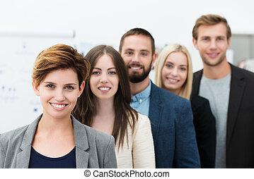 grupo, de, joven, empresarios