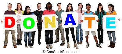 grupo, de, joven, multi étnico, gente, tenencia, palabra,...