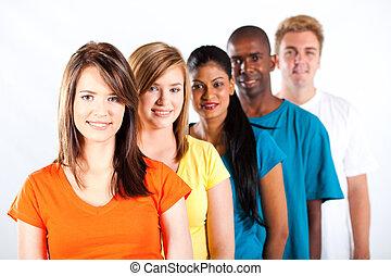 grupo, de, joven, multiracial, gente