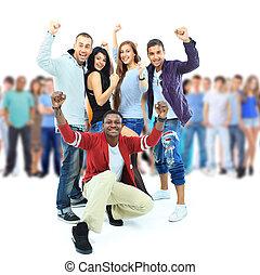 grupo, de, joven, personas., aislado, blanco