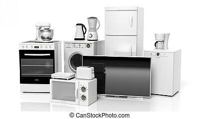 grupo, de, lar, eletrodomésticos, isolado, branco, fundo