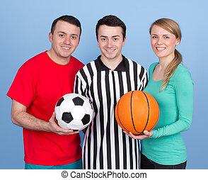 grupo de las personas, con, deportes, pelotas
