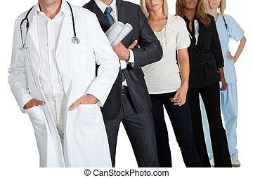 grupo de las personas, con, diferente, ocupaciones
