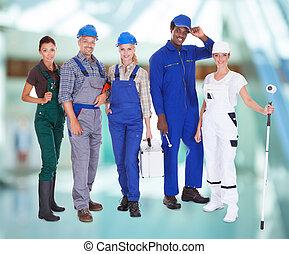 grupo de las personas, con, diverso, profesiones