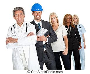grupo de las personas, en, diferente, profesiones