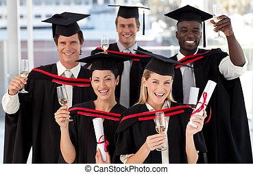 grupo de las personas, graduar, de, colegio