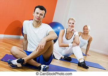 grupo de las personas, relajante, después, ejercicio salud