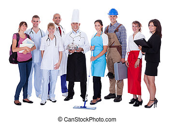 grupo de las personas, representar, diverso, profesiones