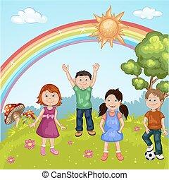 grupo, de, lindo, feliz, caricatura, niños