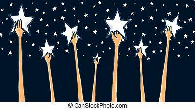 grupo, de, mãos alcançando, para, a, estrelas, ou, sucesso