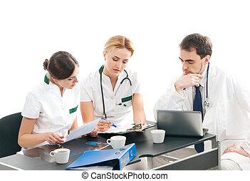 grupo, de, médico, trabajadores, discutir, en, oficina