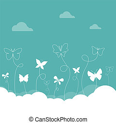 grupo, de, mariposas, vuelo, en, el, sky.