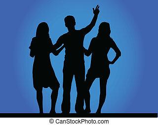 grupo, de, melhores amigos, -, silueta, vetorial