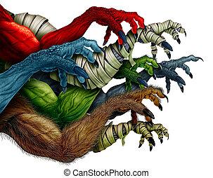grupo, de, monstro, braços