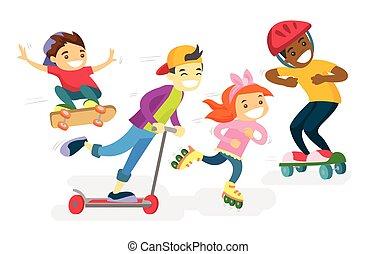 grupo, de, multiétnico, niños jugar, juntos.