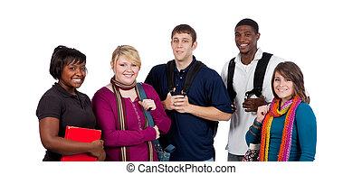 grupo, de, multi-racial, estudantes colégio