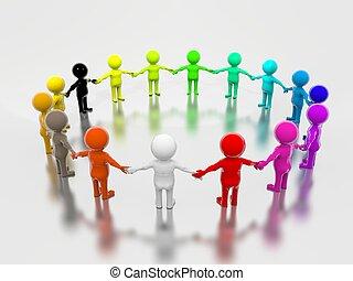grupo, de, multicolor, pueblos, en, 3d